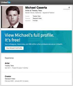 michael-caserta-stackpot-linkedin-profile-tweeky-tees-screenshot