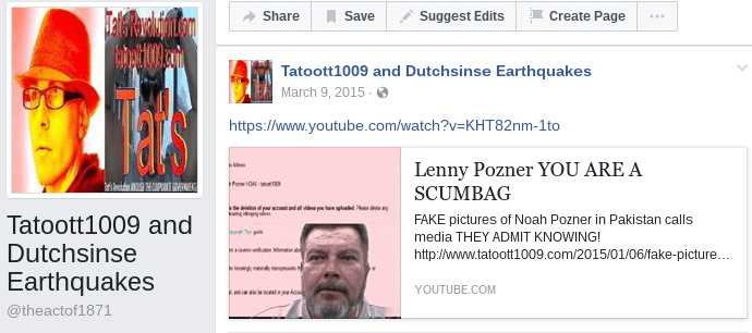 Dutchsinse hoaxer Facebook Page (Tatoott1009 and Dutchsinse Earthquakes: You are a scumbag)
