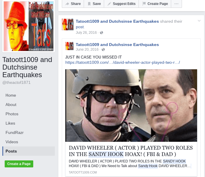 Dutchsinse Hoaxer Facebook Page (Tatoott1009 and Dutchsinse Earthquakes: David Wheeler)