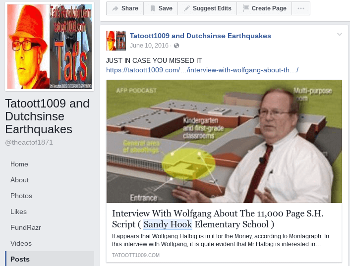 Dutcsinse and Tatoott1009 Facebook Page (Interview with Wolfgang about Sandy Hook)