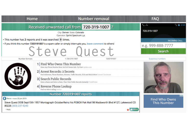 Montagraph AKA Steve Quest Phone Number